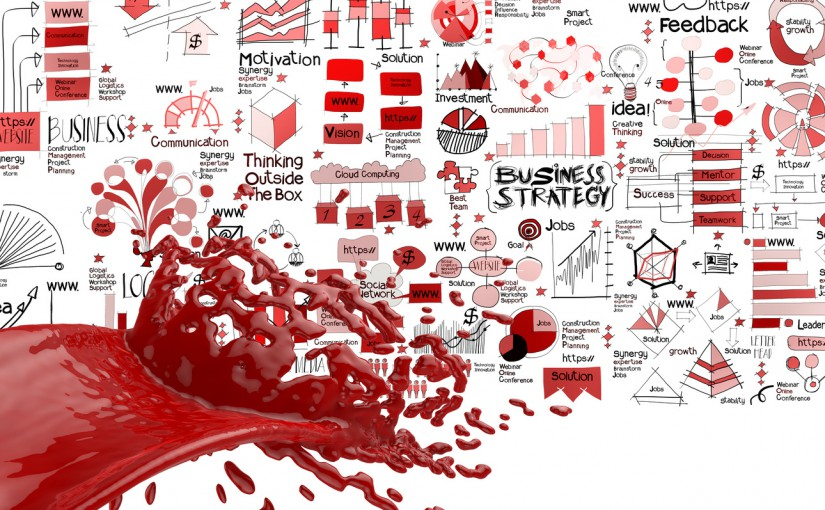3D paint red color splash and hand drawn business strategy background as concept